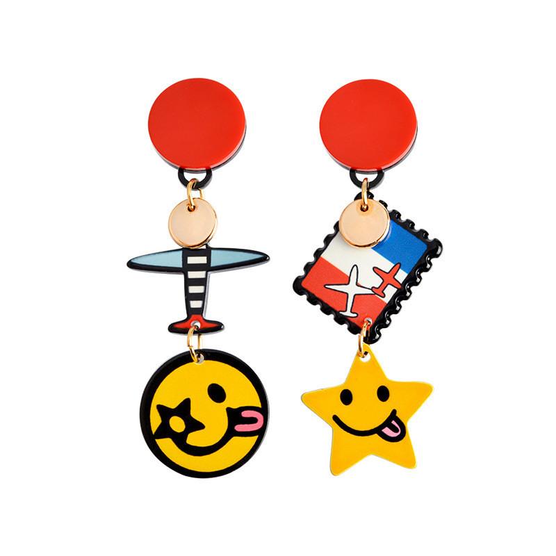 彩丽馆 新款时尚卡通飞机笑脸星星耳钉个性不对称耳环