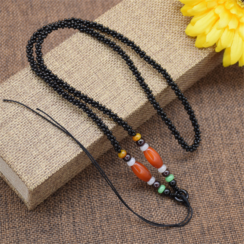 彩丽馆 手工编织黑玛瑙玉米结项链绳绿松石珠子翡翠吊坠玉佩项链绳