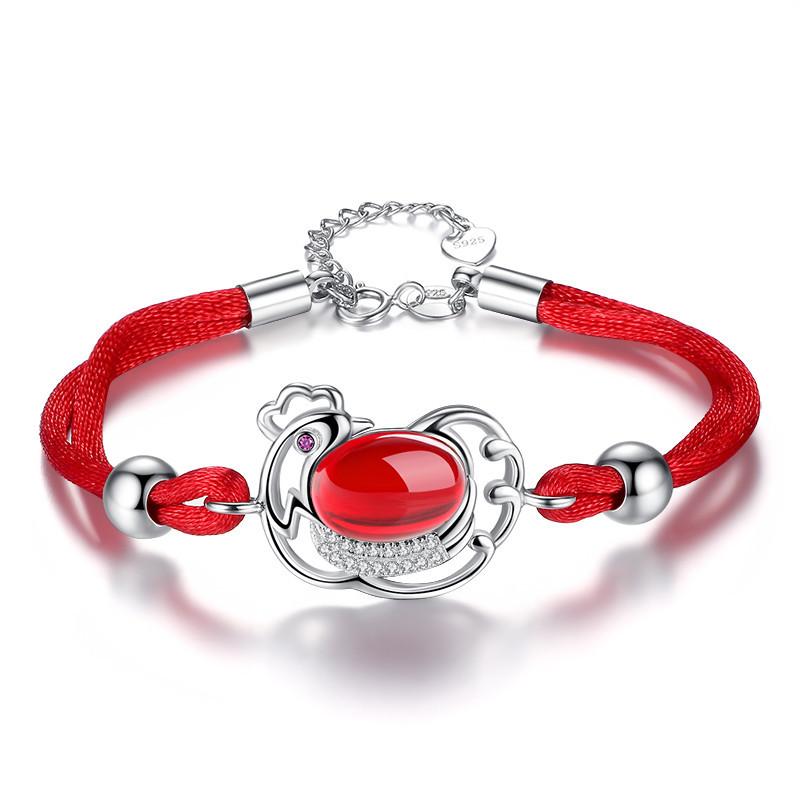 彩丽馆 925银红绳鸡手链本命年转运珠编织手绳简约玛瑙女生日礼物