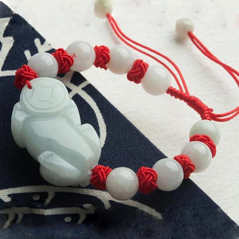 彩丽馆 翡翠貔貅手链编织手环男女款玉串圆珠可调节手