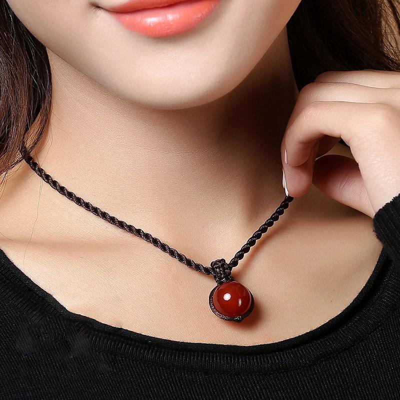 彩丽馆 红玛瑙项链圆珠坠饰女款编织锁骨链饰品