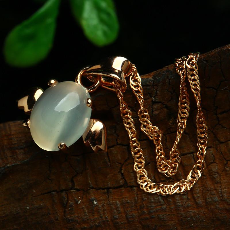 彩丽馆 s925镶嵌月光石吊坠圆形蛋面挂件女款小天使项链坠饰品