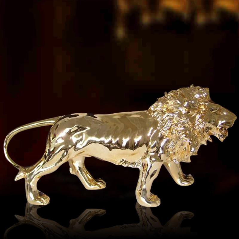彩丽馆礼品之家 树脂动物摆饰品 雄狮电镀落地摆件 欧式酒店工程狮子