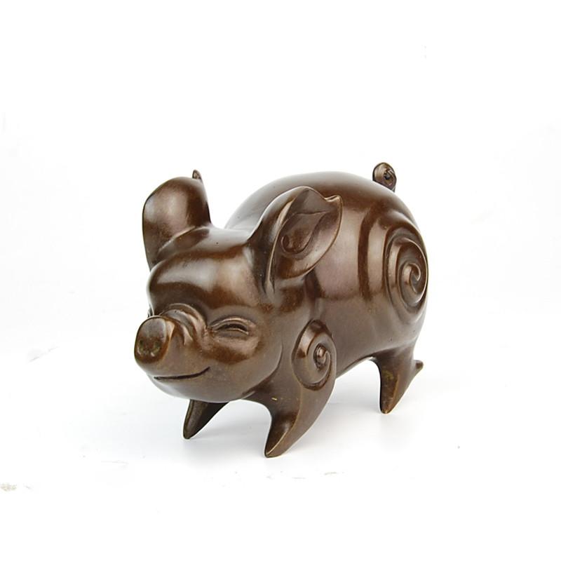 彩丽馆礼品之家纯铜招财猪摆件12十二生肖猪办公室家居风水摆设工艺品
