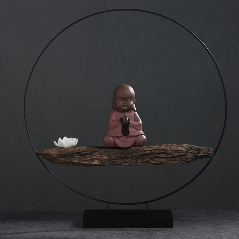 彩丽馆宾曼 新中式禅意摆件 小和尚桌面装饰品工艺品