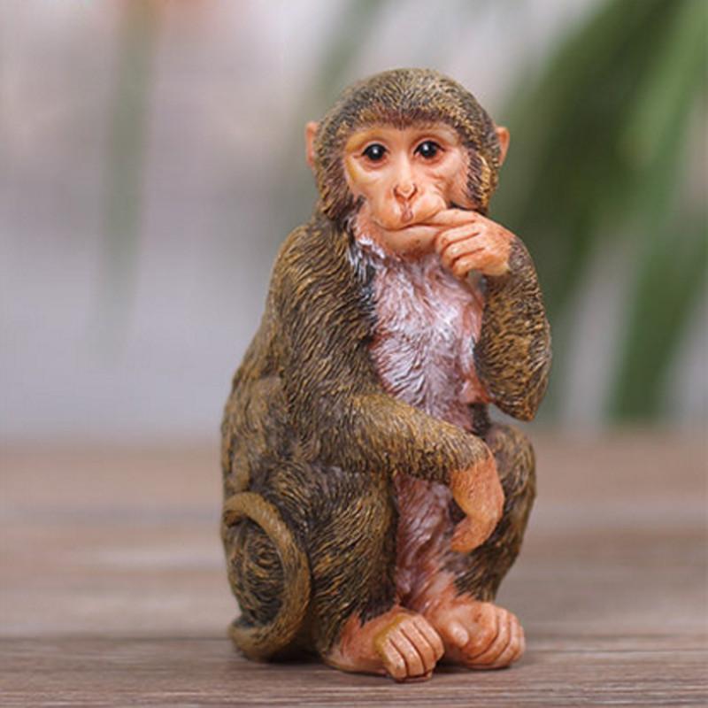 彩丽馆可爱小猴子摆件工艺品生肖猴礼物猴子客厅家居装饰品摆设