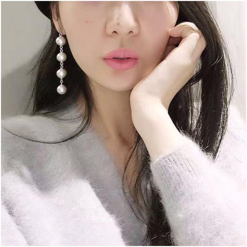 彩丽馆耳环韩国气质长款流苏耳饰品个性吊坠潮人百搭简约耳钉女珍珠图片