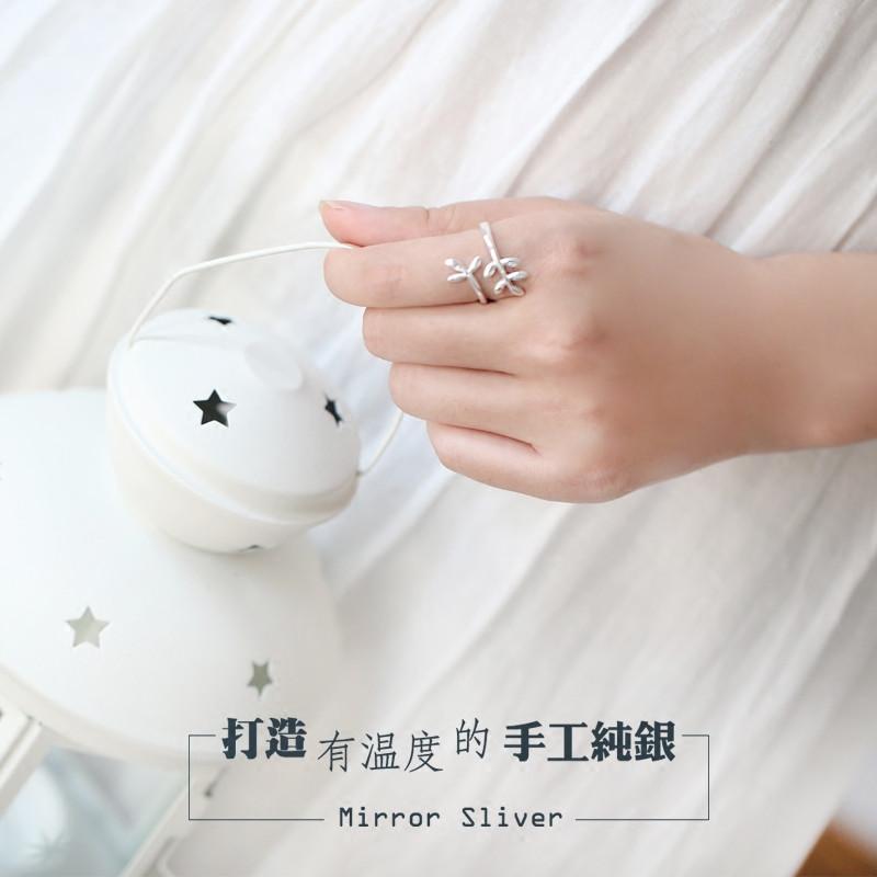 彩丽馆小麋人森林系日韩小树叶植物s925纯银开口戒指学生指环文艺礼物