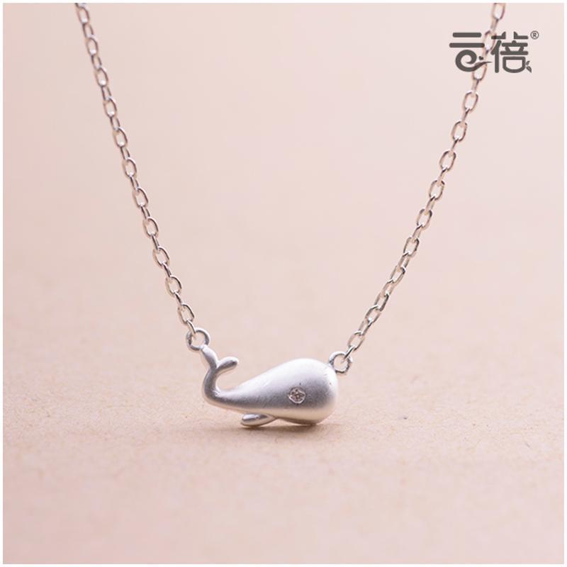 彩丽馆原创鲸鱼s925纯银项链日韩简约可爱小动物锁骨链个性配饰吊坠