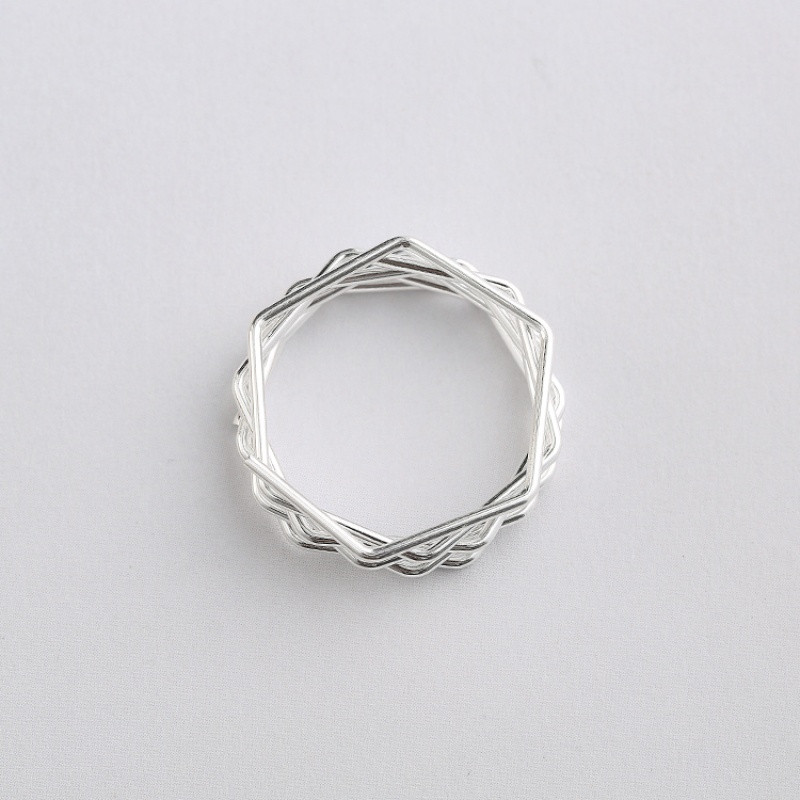 彩丽馆设计创意简约六边形银丝缠绕s925纯银素银戒指女韩版饰品