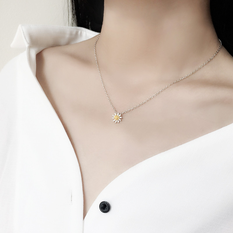 彩丽馆雏菊s925纯银项链配饰品女士简约甜美清新锁骨链女生日韩颈链
