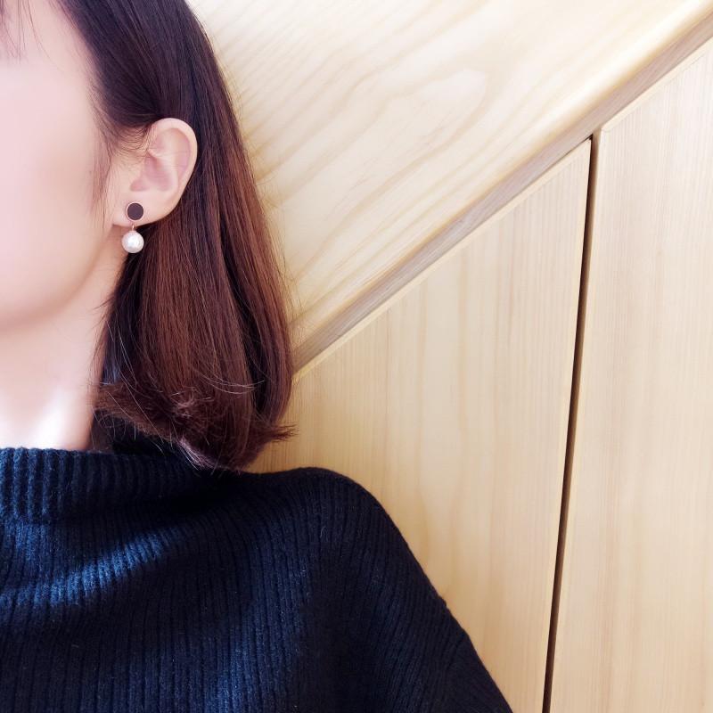 简约时尚黑色圆点吊珍珠耳环耳钉耳坠女气质百搭日常精致耳饰衬肤送女