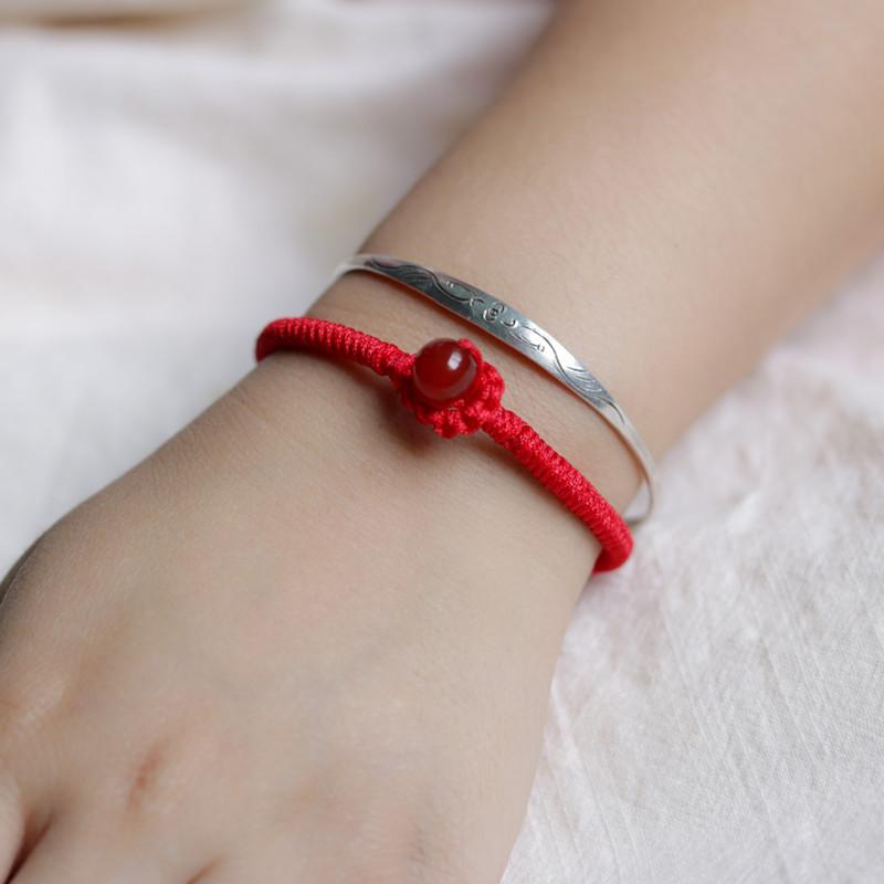 纯手工编织金刚结手绳手链转运红绳手链男女本命年情侣生日礼物送女