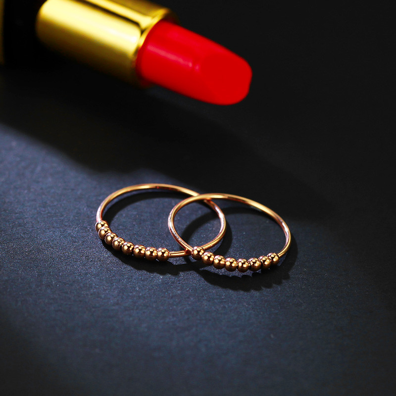 韩版18k玫瑰金好运转运珠戒指女日韩国时尚彩金尾戒食指关节指环送女