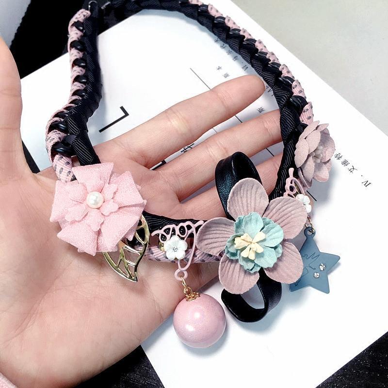 彩丽馆新款韩国短款项链锁骨链韩版玫瑰花珍珠水晶百搭吊坠小香风毛衣