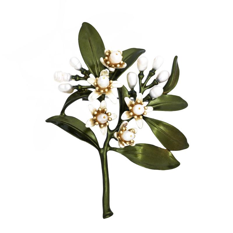 彩丽馆北欧田园民族风胸针淡水珍珠胸花橄榄花别针瑞丽复古文艺气质
