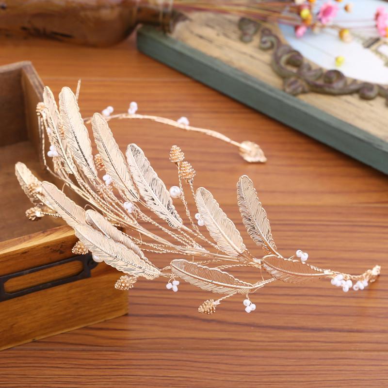 彩丽馆欧式新娘复古金色巴洛克手工树叶发箍头饰婚纱礼服发饰影楼配