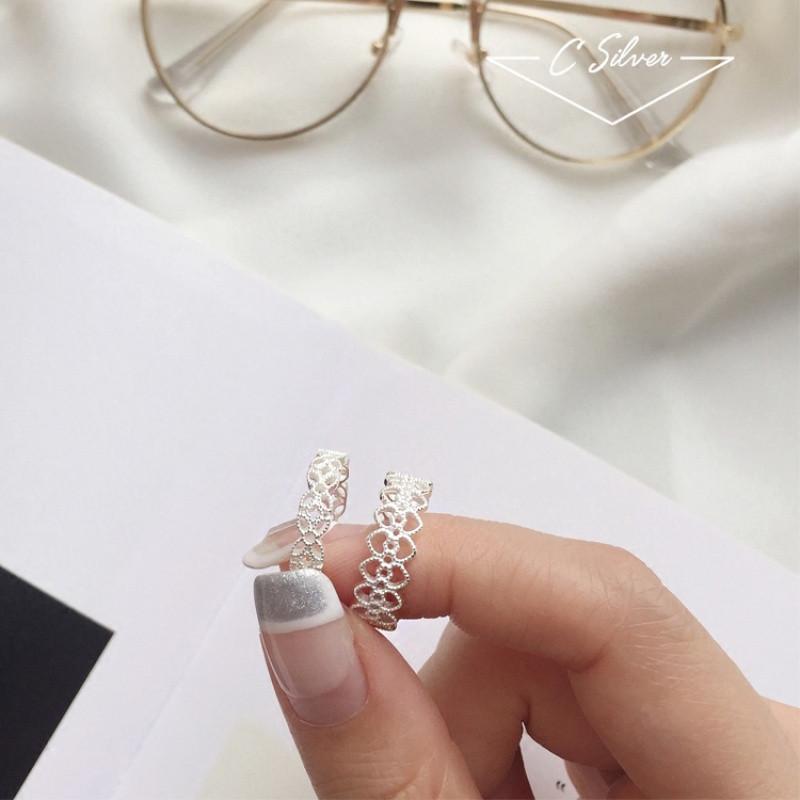 彩丽馆日韩国s925纯银镂空少女心形蕾丝花纹戒指指环女开口简约精致韩