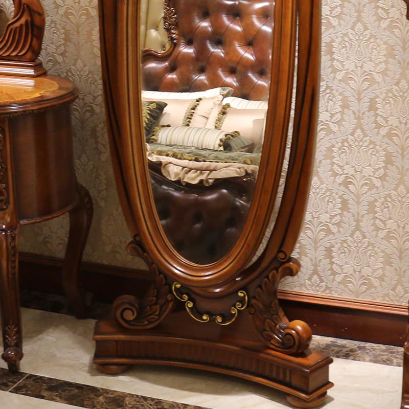 千住明欧式穿衣镜实木雕花化妆镜全身落地镜美式高档试衣镜卧室深色