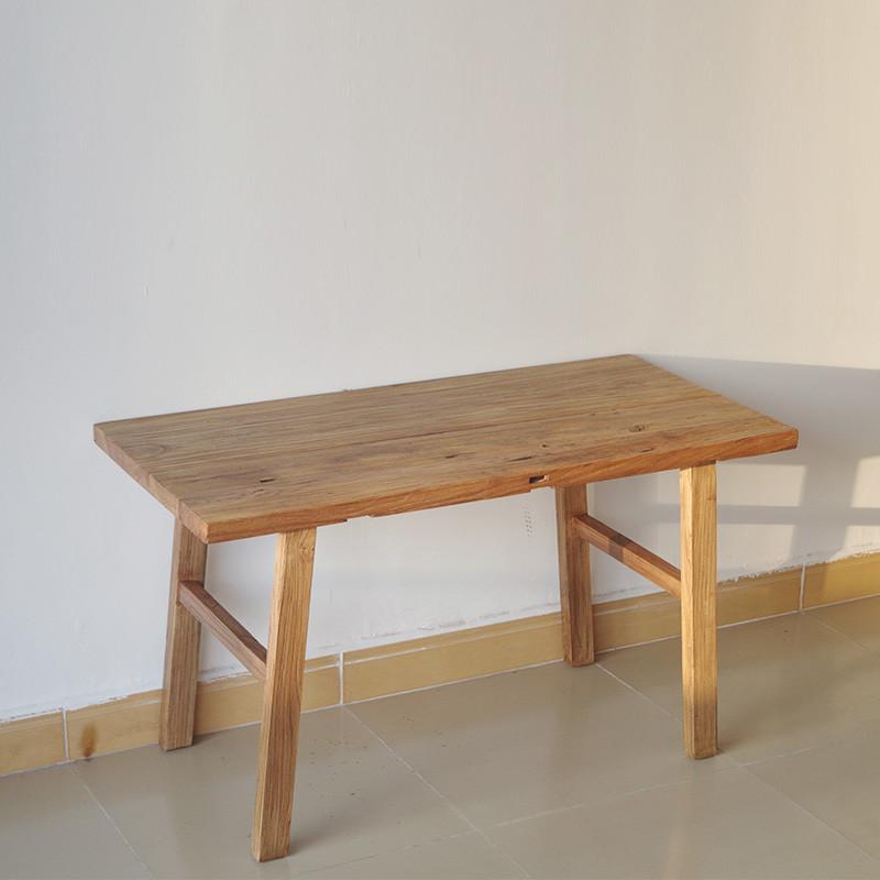 千住明现代中式餐桌椅组合老榆木门板餐台长凳茶桌椅实木洽谈桌长方形