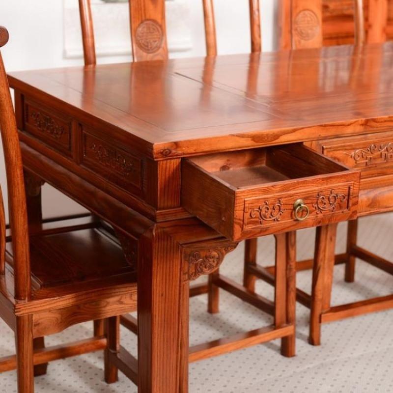千住明中式仿古实木茶桌椅组合 雕花茶艺桌组合 泡茶桌 餐桌长方桌