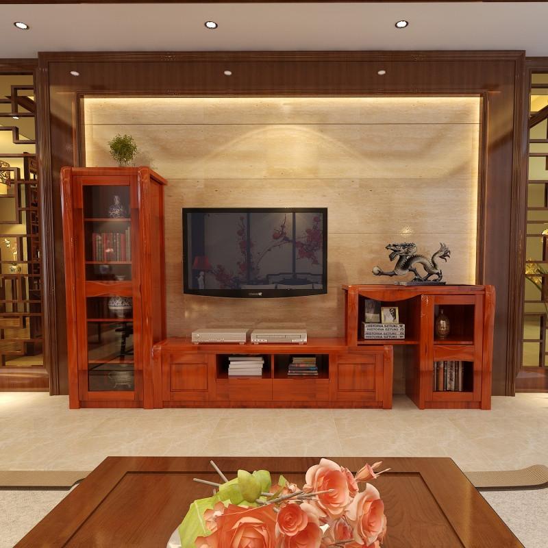 千住明现代客厅中式实木电视柜 背景墙高低柜组合伸缩