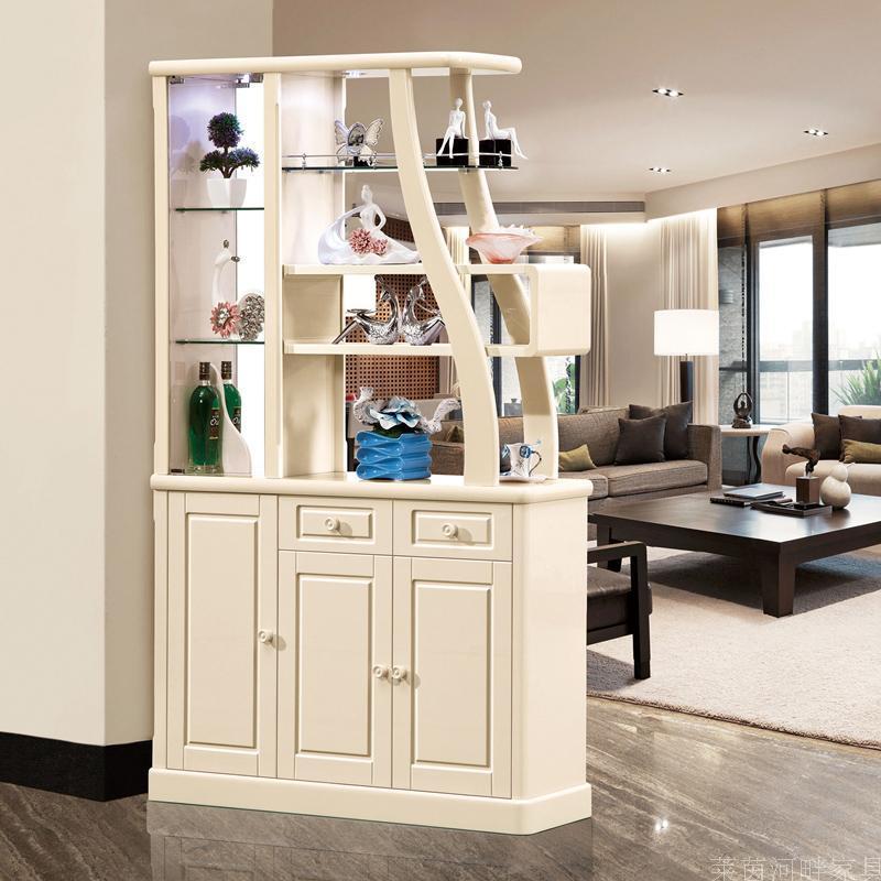千住明客厅玄关隔断柜子鞋柜简约现代门厅装饰屏风酒柜组合米白双面图片