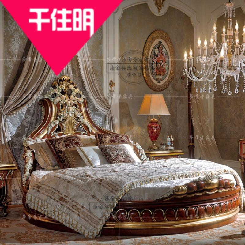 千住明法式家具卧室学生大圆床 欧式宫廷彩绘公主床主卧婚床全实木
