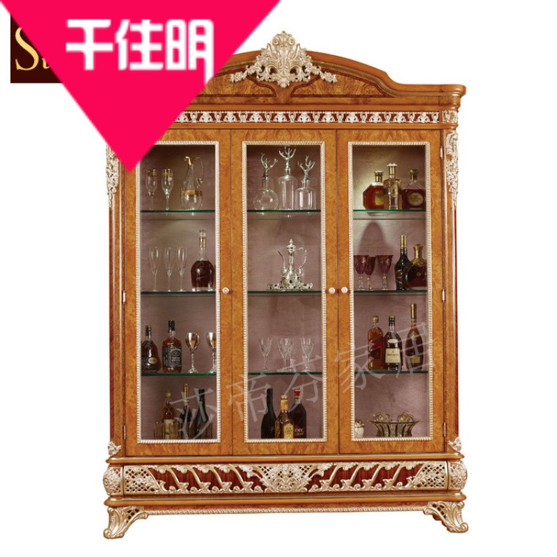 千住明意大利玻璃门酒柜/吧柜 餐厅实木雕花三门酒柜组合柜/装饰柜
