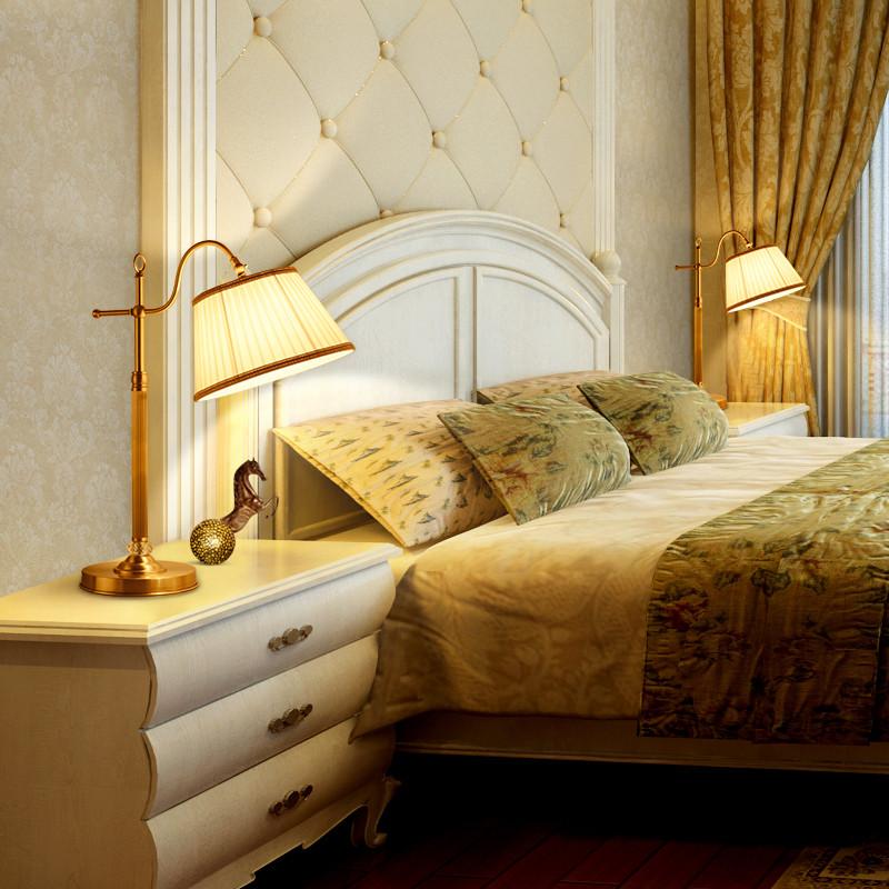 世冠 全铜台灯欧式客厅书房卧室复古床头灯简欧欧式纯铜简约温馨铜
