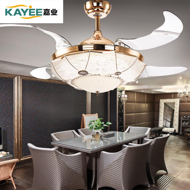 欧式客厅电扇灯 餐厅风扇灯卧室现代风扇吊灯 隐形扇叶 环保树脂设计