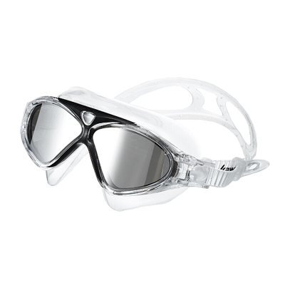 川崎(kawasaki)高清防雾防水泳镜平光泳镜 男女专业训大框快速易调节游泳眼镜装备PC材质 舒适平光