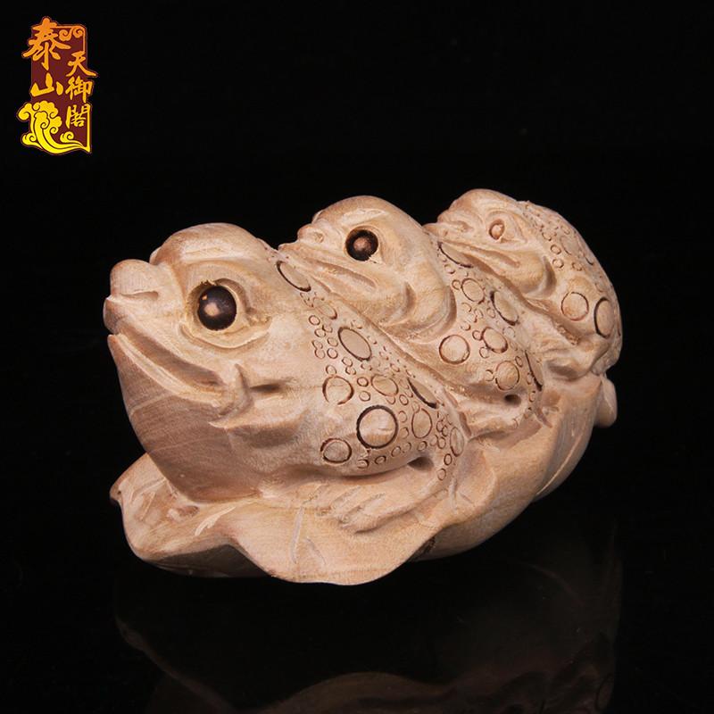 天御阁 桃木金蟾招财摆件 木质三足金蟾蜍手把件挂件饰品 实木雕刻