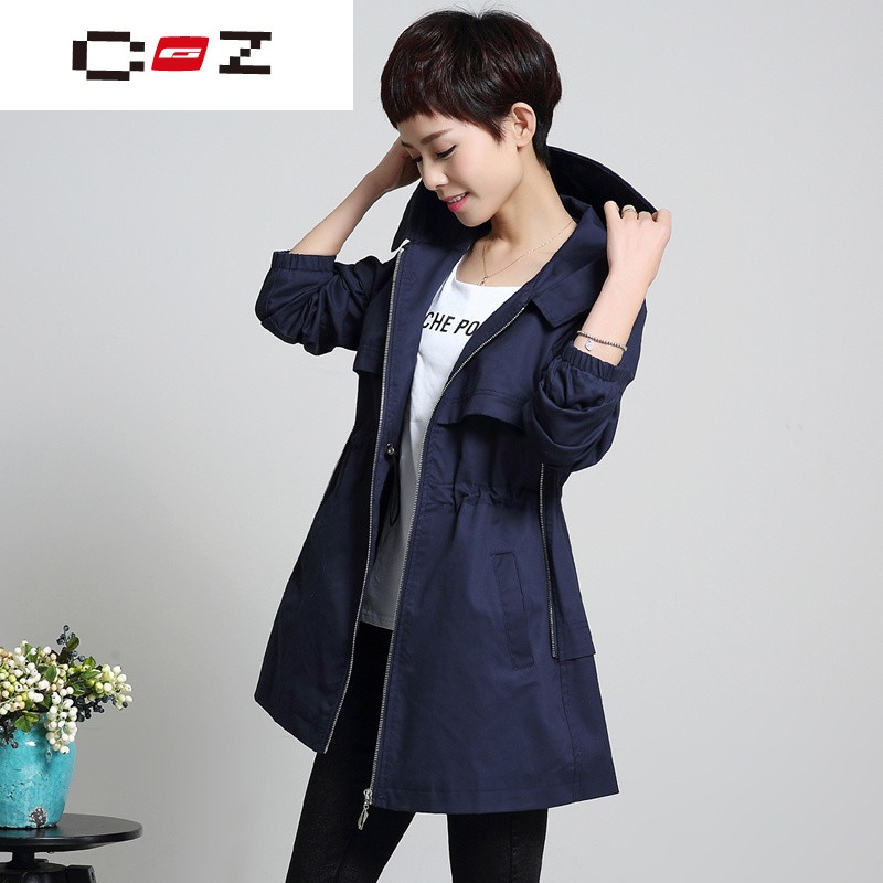 CZ潮流品牌大码女风衣女中长款韩版宽松薄外