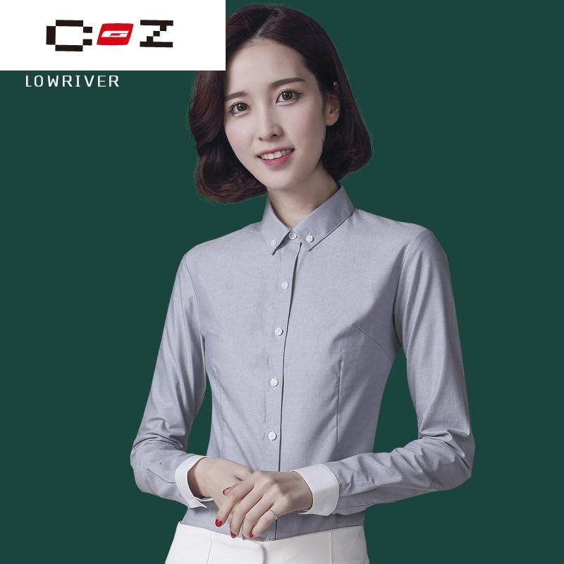 CZ潮流品牌長袖襯衫女韓范2017春裝新款修身