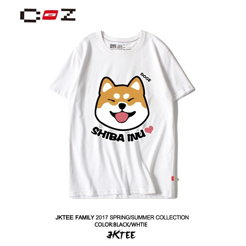 流品牌韩国ulzzang视频可爱秋田犬印花T恤女韩色卡通94