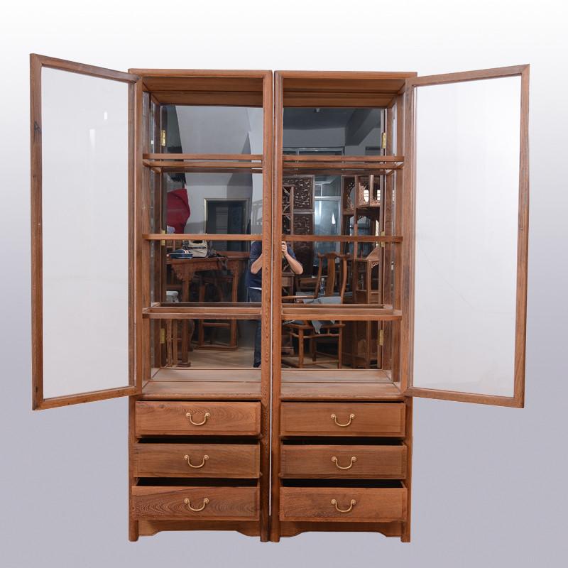 红木家具鸡翅木现代中式酒柜实木客厅单门玻璃小酒柜展示柜 原木仿古