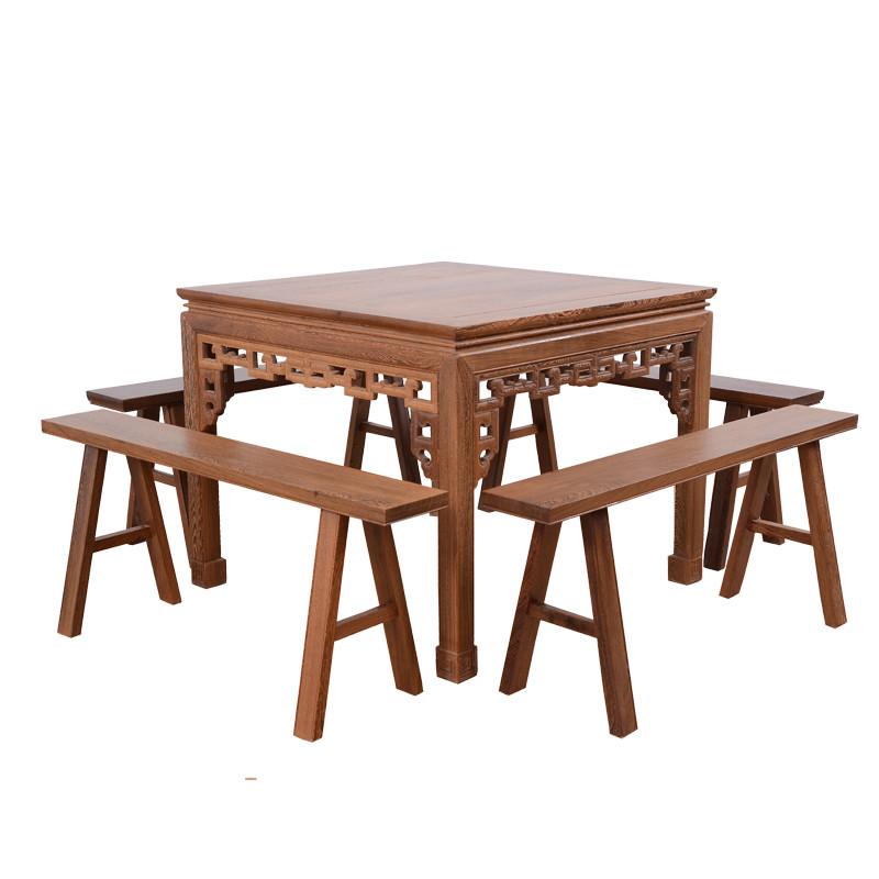 方桌 饭桌餐桌椅组合 实木中式仿古四方餐桌板凳组合jcm611