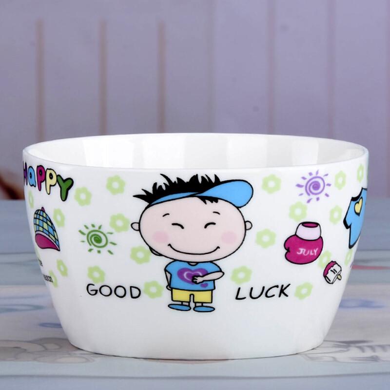 家用米饭碗一家四口亲子韩式吃饭小碗套装卡通可爱方碗餐具陶瓷碗