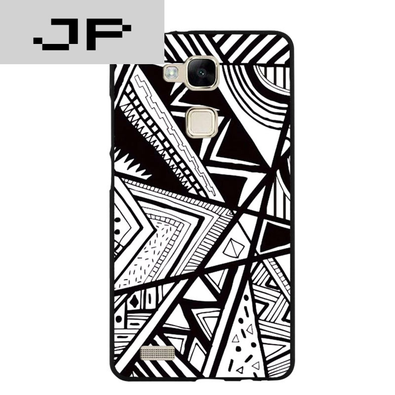 jp潮流品牌 黑白图腾华为mate8创意手机壳 mate7简约包边保护套硅胶套