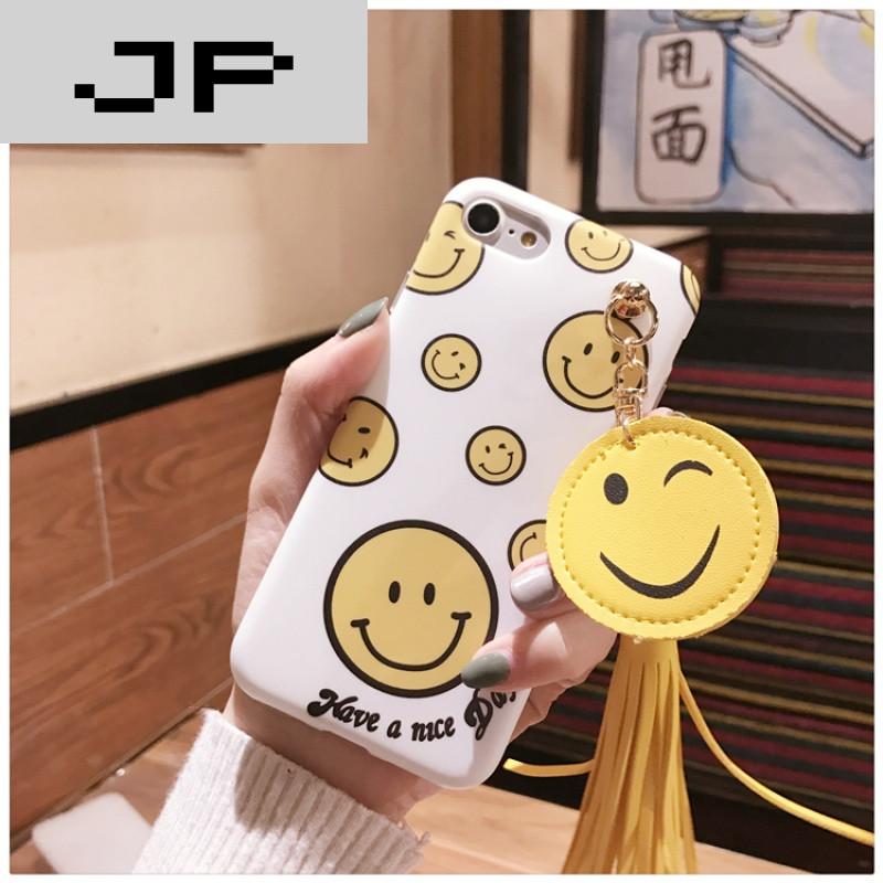jp潮流品牌韩国卡通可爱笑脸流苏苹果6s手机壳iphone6