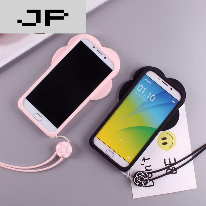 品牌创意山茶花oppor9手机壳女款挂绳oppor9plus硅胶软套r9m卡通可爱