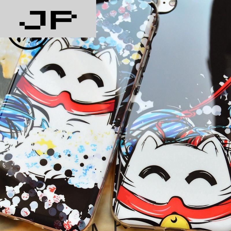 jp潮流品牌iphone7手机壳全包招财猫可爱插画猫苹果7plus保护套软壳