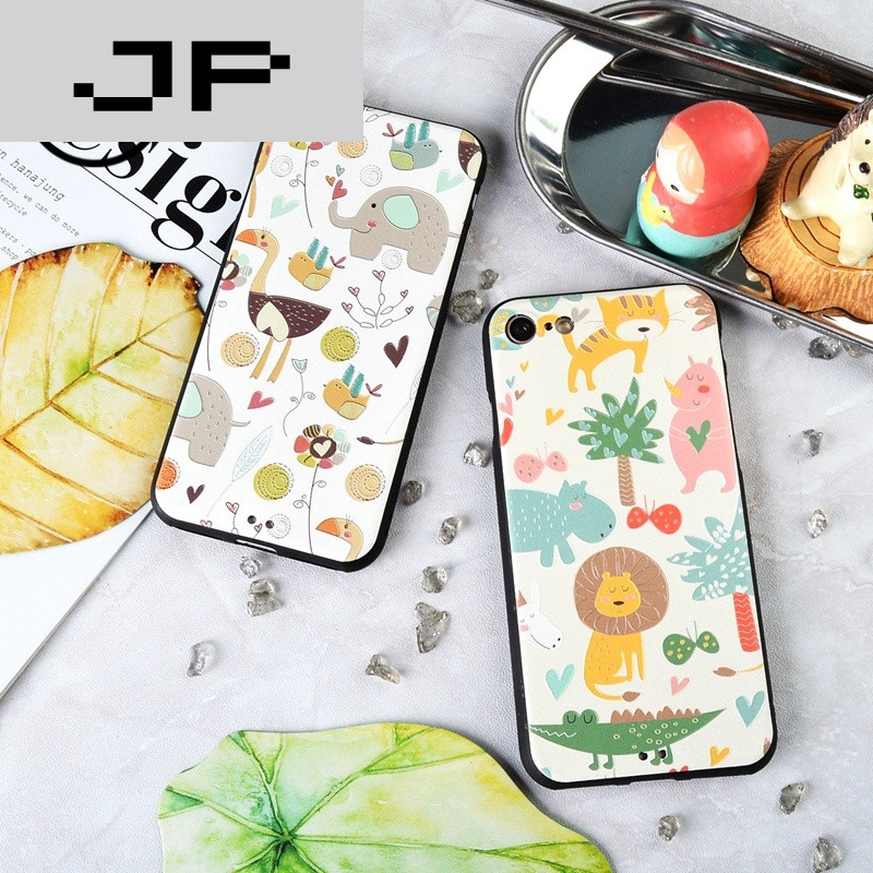 jp潮流品牌可爱卡通小清新苹果7plus手机壳全包软壳iphone7保护套浮雕