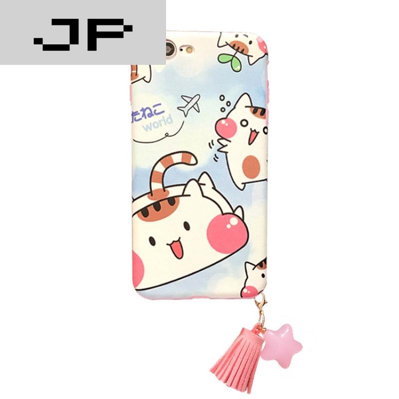 jp潮流品牌日韩可爱猫咪iphone6plus硅胶软壳苹果7plus手机壳6s流苏女