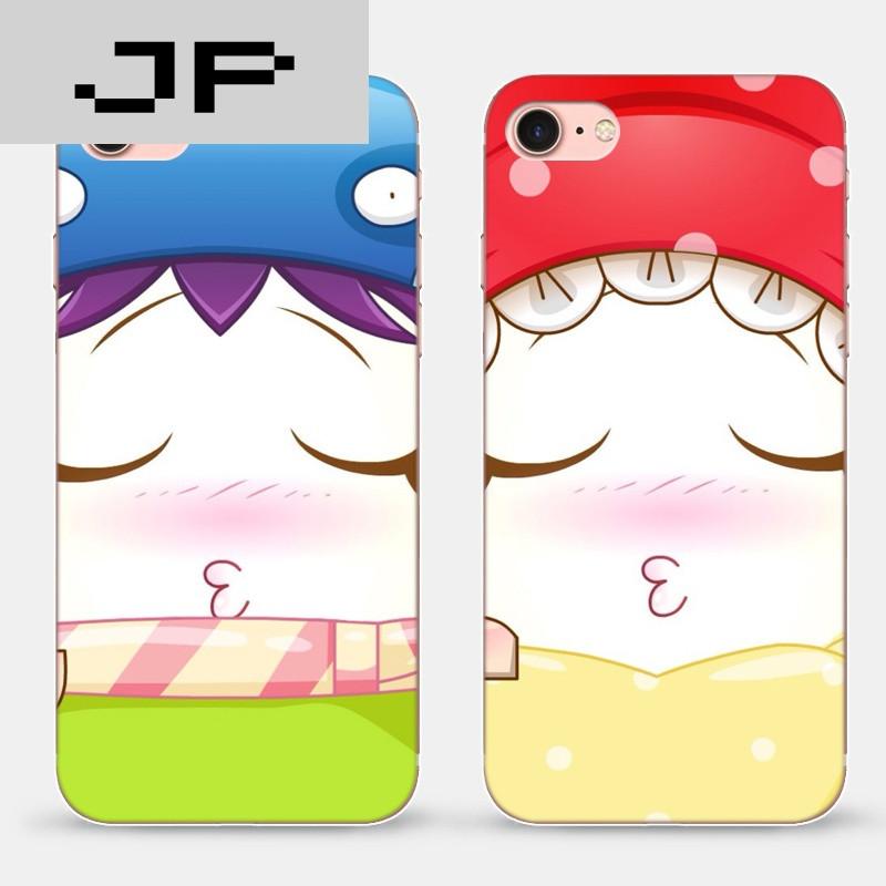 jp潮流品牌苹果iphone7/7plus手机软壳保护套可爱卡通亲嘴情侣个性