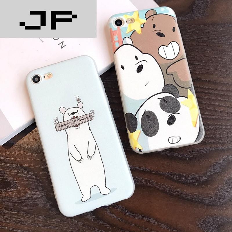 jp潮流品牌软壳全包边苹果6/7手机壳小熊iphone7/6splus保护套7plus