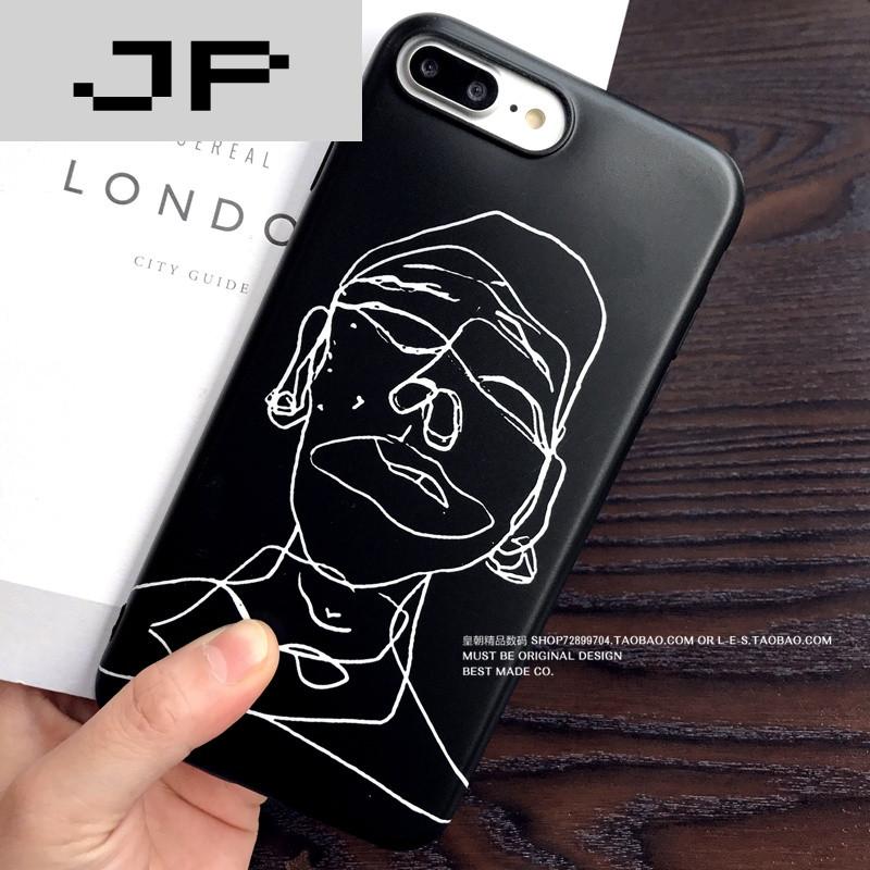 jp潮流品牌全包边苹果6/7手机壳极简线条人像iphone7