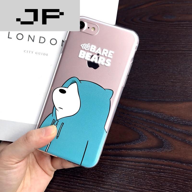 jp潮流品牌韩国ins风苹果6手机壳裸熊iphone7/6splus保护套7plus全