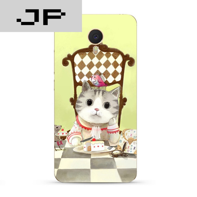 jp潮流品牌可爱卡通手绘猫咪魅族魅蓝3s note5 3 2 metal手机壳软壳防